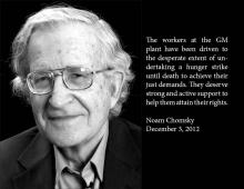 Noam Chomsky supports injured GM workers