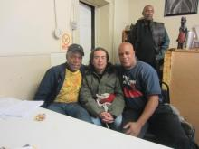 Danny Glover with injured Colombian auto worker Jorge Parra and UAW member Melvin Thompson who has not eaten since Nov. 20th in solidarity with these workers